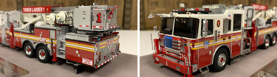 Closeup pictures 11-12 of the FDNY Ladder 1 scale model