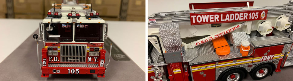 Closeup pictures 1-2 of the FDNY Ladder 105 scale model
