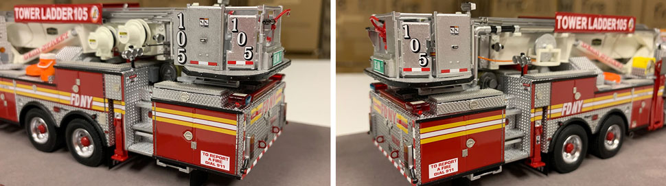Closeup pictures 3-4 of the FDNY Ladder 105 scale model