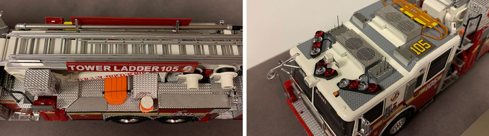 Closeup pictures 5-6 of the FDNY Ladder 105 scale model