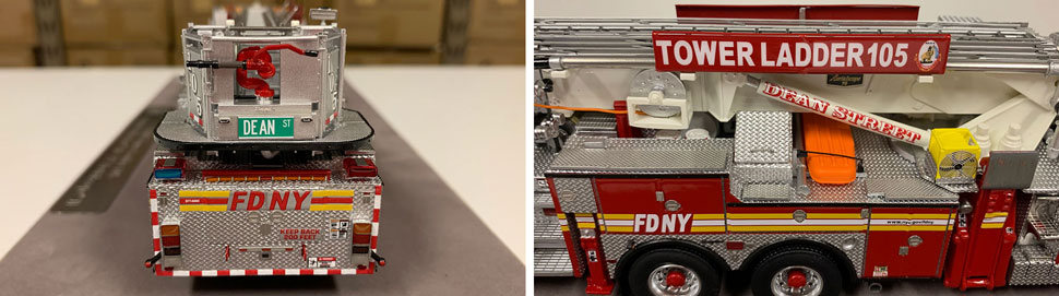 Closeup pictures 7-8 of the FDNY Ladder 105 scale model