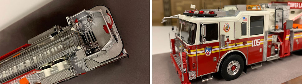 Closeup pictures 9-10 of the FDNY Ladder 105 scale model