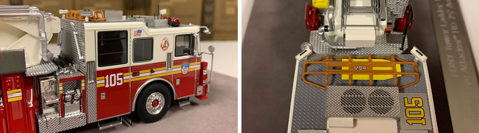 Closeup pictures 11-12 of the FDNY Ladder 105 scale model