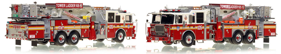 FDNY's Ladder 105 scale model is hand-crafted and intricately detailed.