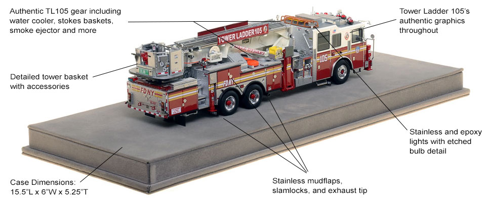 Specs and Features of FDNY Ladder 105 scale model