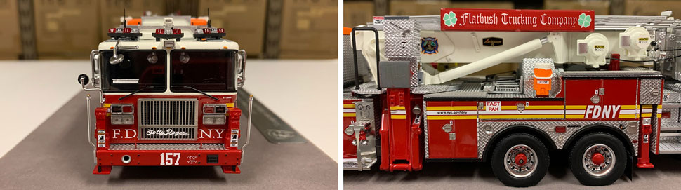 Closeup pictures 1-2 of the FDNY Ladder 157 scale model