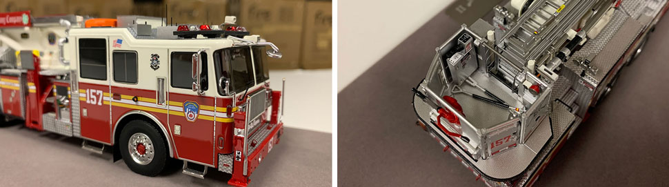 Closeup pictures 3-4 of the FDNY Ladder 157 scale model