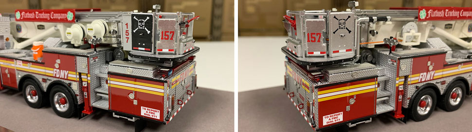 Closeup pictures 5-6 of the FDNY Ladder 157 scale model
