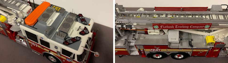 Closeup pictures 9-10 of the FDNY Ladder 157 scale model