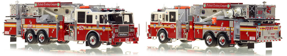 FDNY's Ladder 157 scale model is hand-crafted and intricately detailed.
