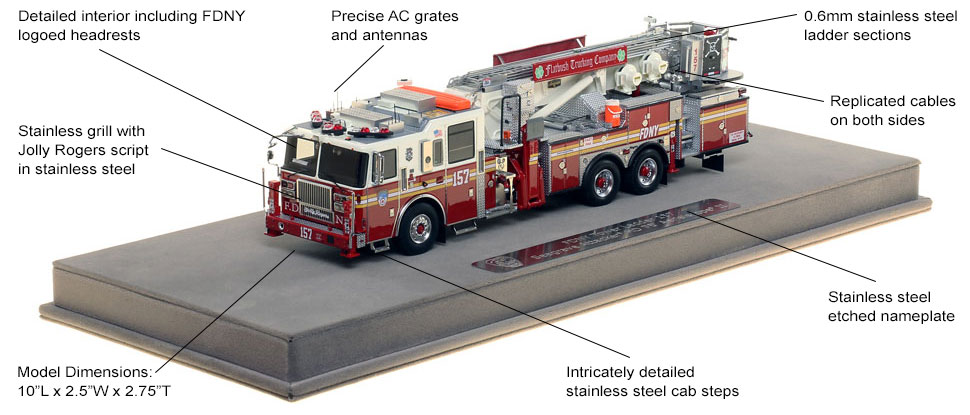 Features and Specs of FDNY Ladder 157 scale model