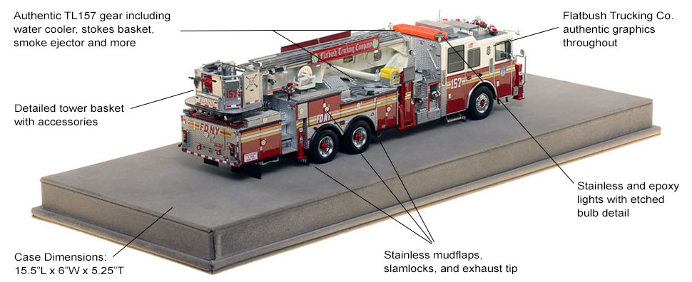Specs and Features of FDNY Ladder 157 scale model