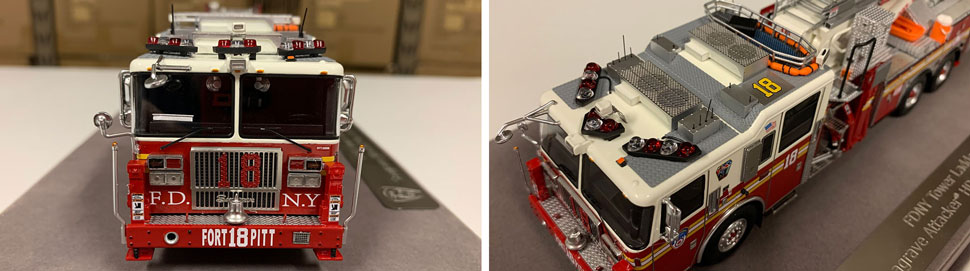 Closeup pictures 1-2 of the FDNY Ladder 18 scale model