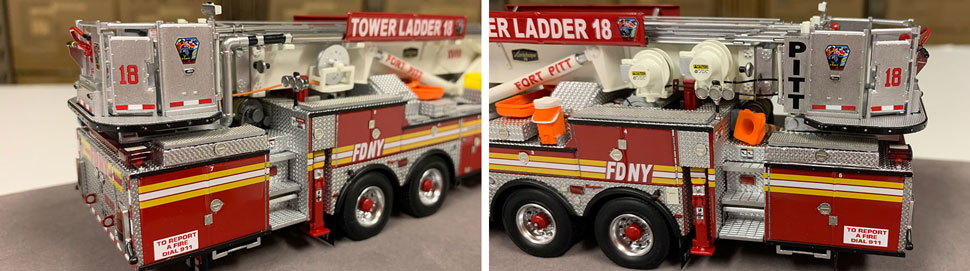 Closeup pictures 3-4 of the FDNY Ladder 18 scale model