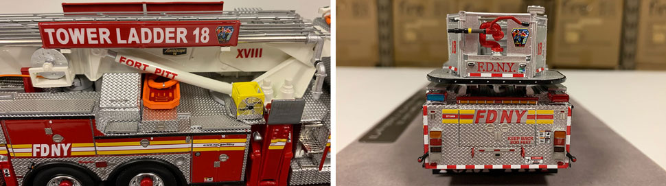 Closeup pictures 5-6 of the FDNY Ladder 18 scale model