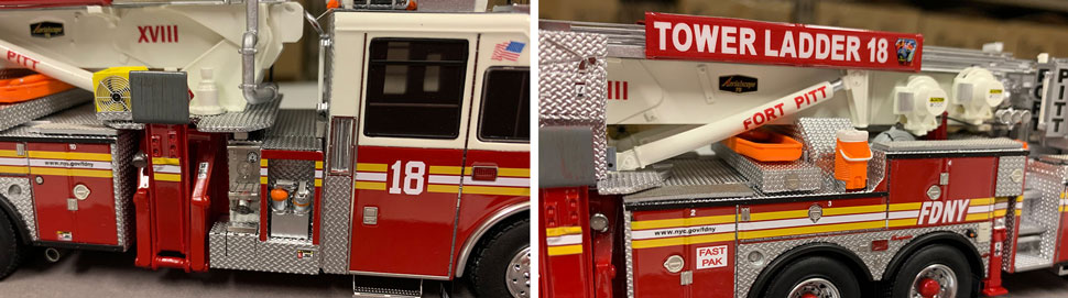 Closeup pictures 7-8 of the FDNY Ladder 18 scale model