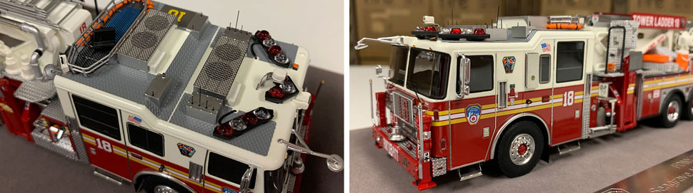 Closeup pictures 9-10 of the FDNY Ladder 18 scale model
