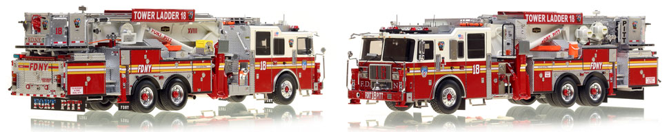 FDNY's Ladder 18 scale model is hand-crafted and intricately detailed.