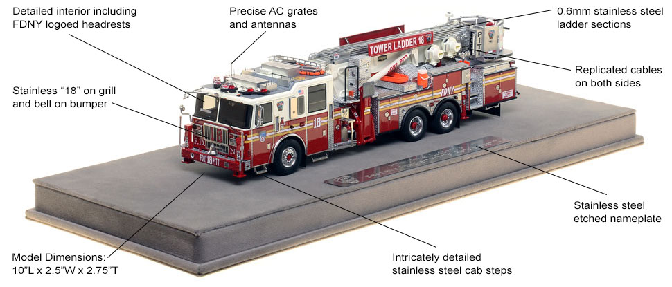Features and Specs of FDNY Ladder 18 scale model