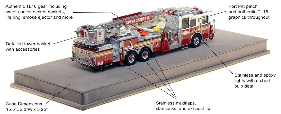 Specs and Features of FDNY Ladder 18 scale model