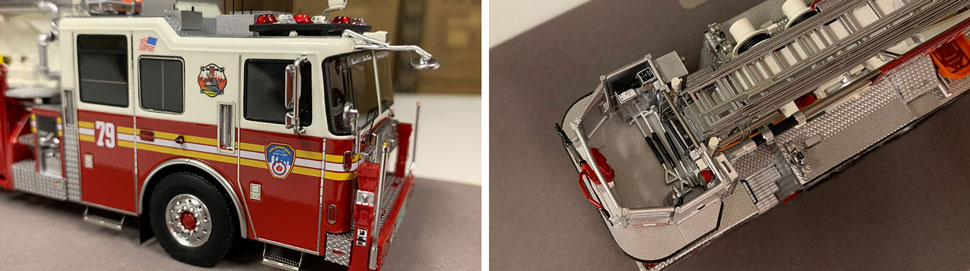 Closeup pictures 3-4 of the FDNY Ladder 79 scale model