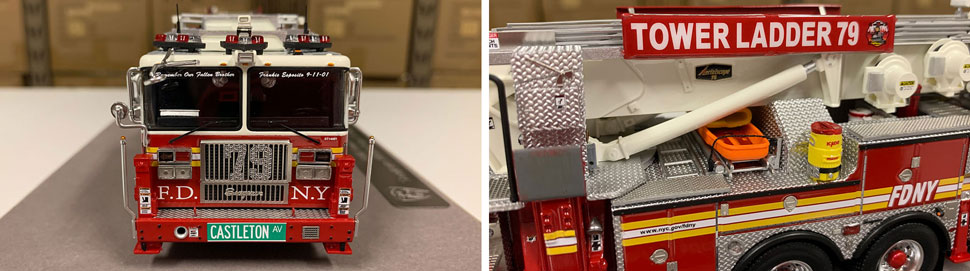 Closeup pictures 1-2 of the FDNY Ladder 79 scale model