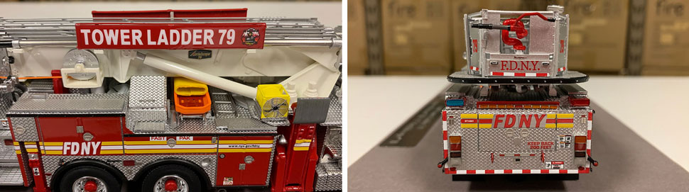 Closeup pictures 5-6 of the FDNY Ladder 79 scale model