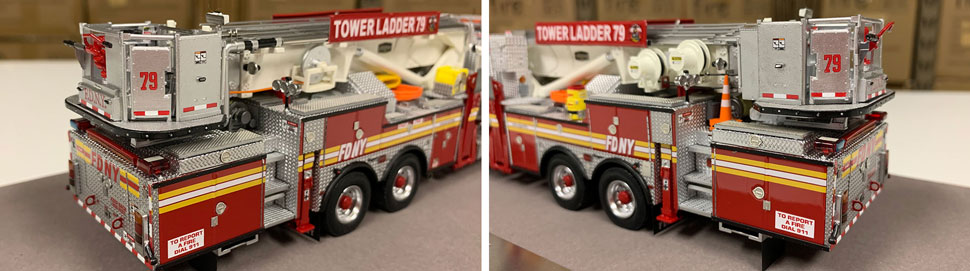 Closeup pictures 11-12 of the FDNY Ladder 79 scale model