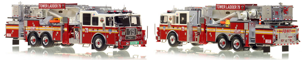 FDNY's Ladder 79 scale model is hand-crafted and intricately detailed.