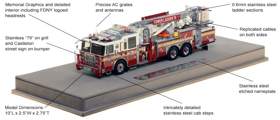 Features and Specs of FDNY Ladder 79 scale model