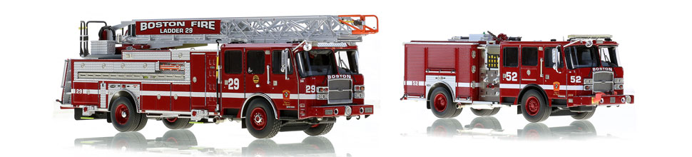 1:50 scale models of Boston Ladder 29 and Engine 52