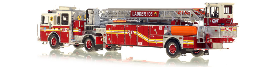 FDNY's Ladder 106 scale model is hand-crafted and intricately detailed.