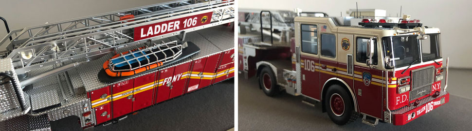 Closeup pictures 1-2 of the FDNY Ladder 106 scale model