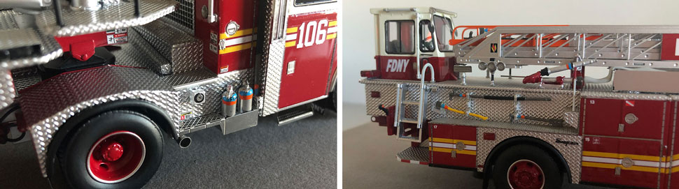 Closeup pictures 3-4 of the FDNY Ladder 106 scale model