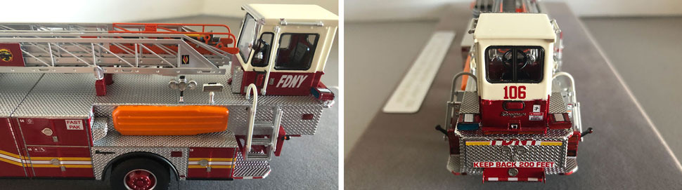 Closeup pictures 7-8 of the FDNY Ladder 106 scale model