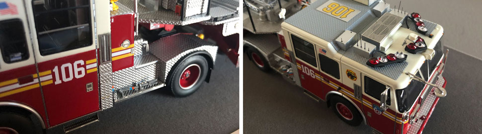 Closeup pictures 9-10 of the FDNY Ladder 106 scale model