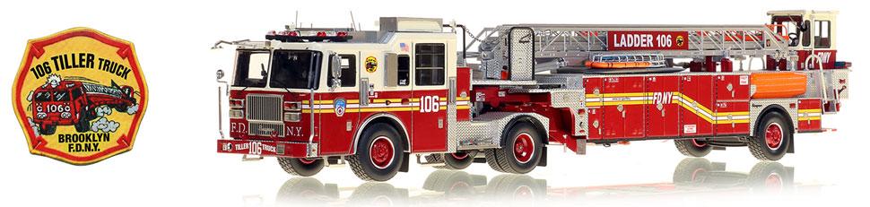 Order your FDNY 106 Tiller Truck 1:50 scale model