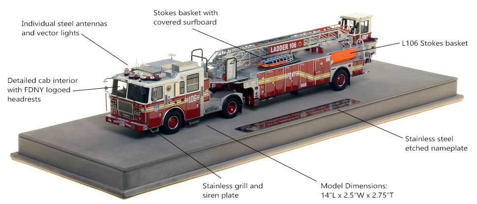 Features and Specs of FDNY Ladder 106 scale model