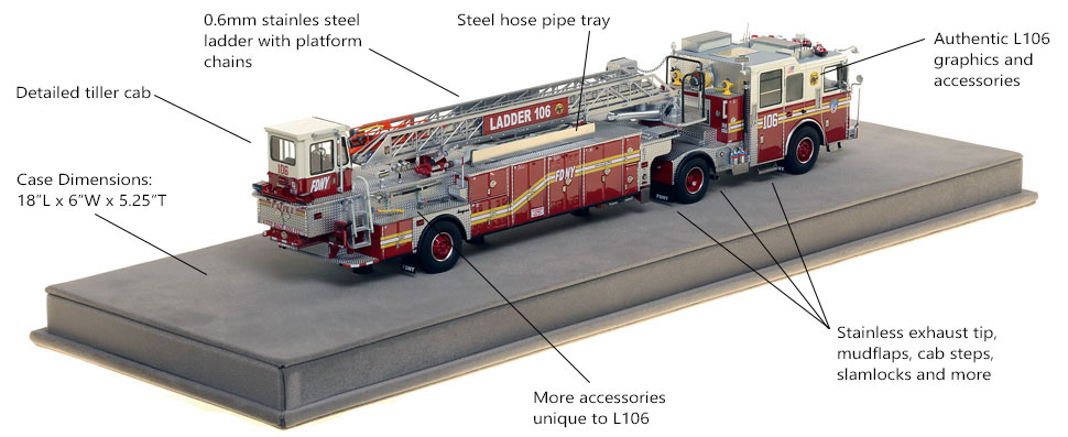 Specs and Features of FDNY Ladder 106 scale model