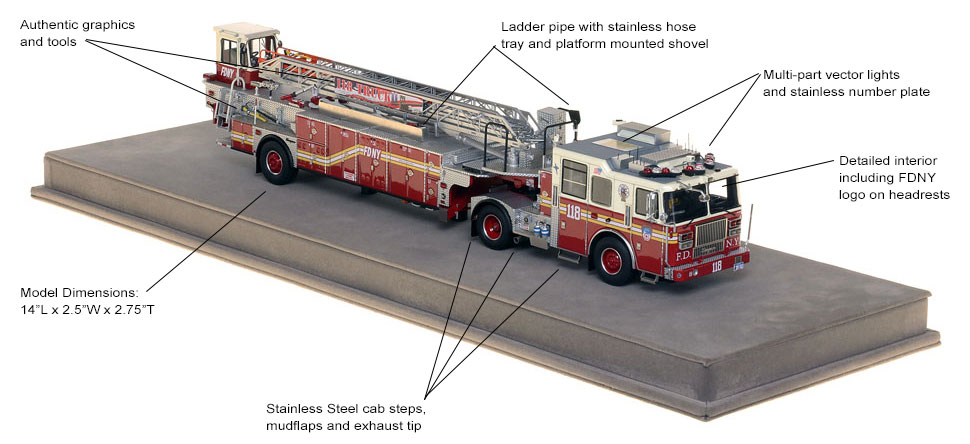 Specs and features of Brooklyn's Ladder 118 scale model.