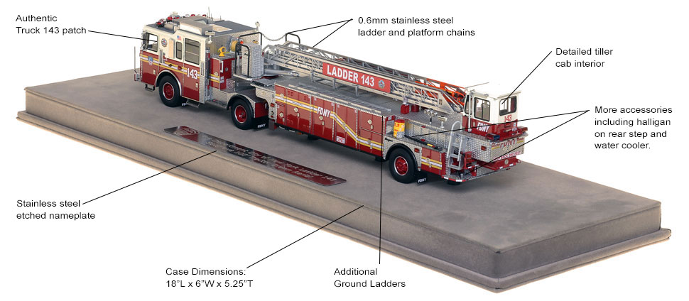 FDNY Ladder 143 scale model includes authentic details