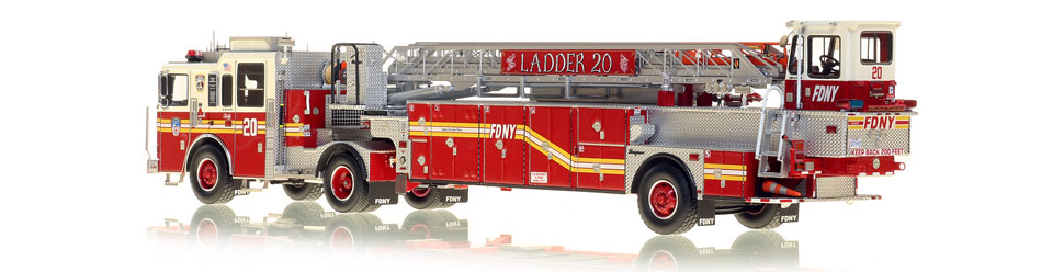 FDNY's Ladder 20 scale model is hand-crafted and intricately detailed.