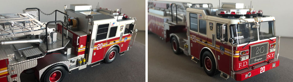 Closeup pictures 1-2 of the FDNY Ladder 20 scale model