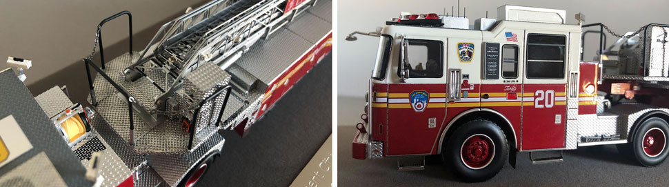 Closeup pictures 3-4 of the FDNY Ladder 20 scale model