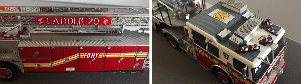 Closeup pictures 5-6 of the FDNY Ladder 20 scale model