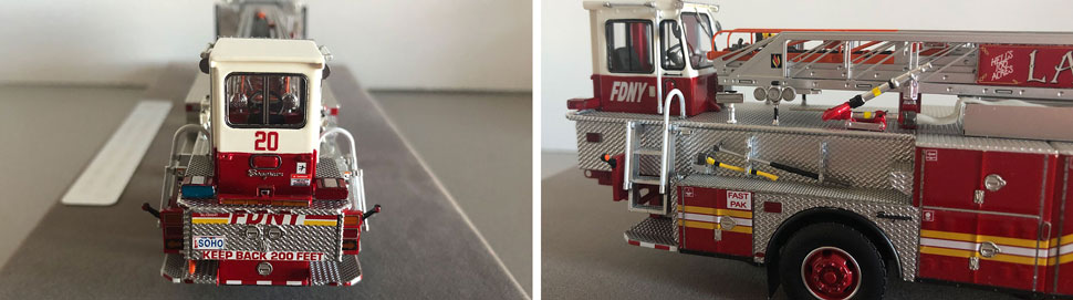 Closeup pictures 7-8 of the FDNY Ladder 20 scale model