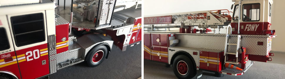 Closeup pictures 9-10 of the FDNY Ladder 20 scale model