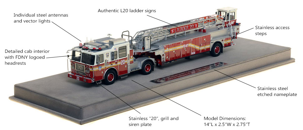 Features and Specs of FDNY Ladder 20 scale model