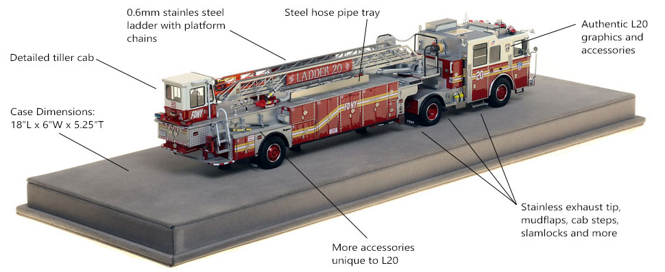Specs and Features of FDNY Ladder 20 scale model