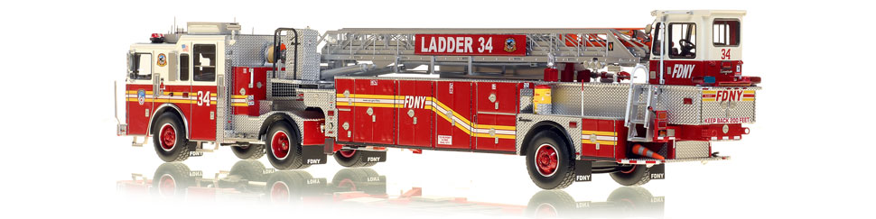 FDNY's Ladder 34 scale model is hand-crafted and intricately detailed.
